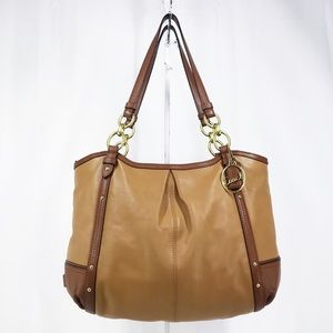 LARGE Coach Alexandra Brown/Tan Chain Shoulder Bag